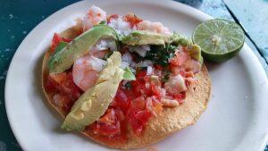 A Mexico City Food Tour - Street Food Shrimp Toastada with Avocado and Salsa