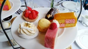 Delicate Cakes and Sweet Treats on an Afternoon Tea Stand
